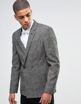 Asos Slim Double Breasted Suit Jacket In Salt and Pepper Fabric