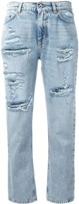 Dolce & Gabbana strawberry embellished cropped jeans