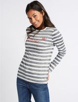 Marks and Spencer Pure Cotton Striped Long Sleeve Sweatshirt