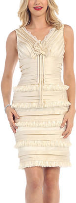 MayQueen Women's Special Occasion Dresses Ivory - Ivory Ruffle-Tiered Sheath Dress & Shawl - Women