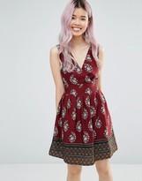 Yumi Border Print Dress With Tie Back