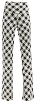 Norma Kamali High-rise Gingham Stretch-jersey Trousers - Black White