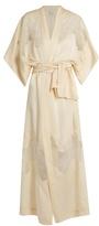 Carine Gilson Lace-insert long silk-satin kimono