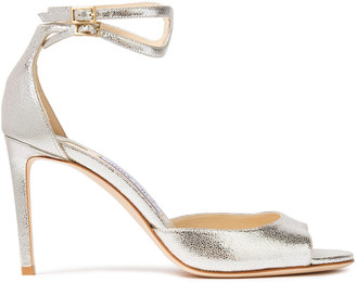 Jimmy Choo Lane 85 Metallic Cracked-leather Sandals