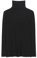 Velvet Top Lux Cotton-blend Turtleneck Blouse