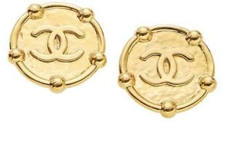 Chanel Gold 'CC' Round Dot Border Earrings