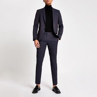 River Island Mens Purple skinny fit suit trousers