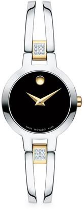Movado Amorosa Diamond and Stainless Steel Bracelet Watch