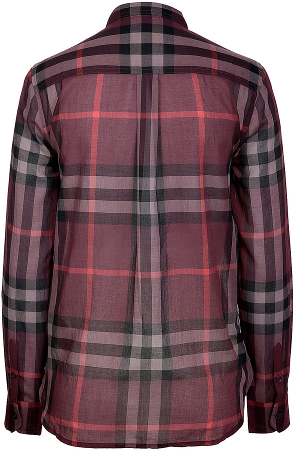 Burberry Oversized Cotton Plaid Shirt