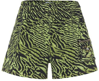 Ganni Tiger-print stretch-cotton shorts
