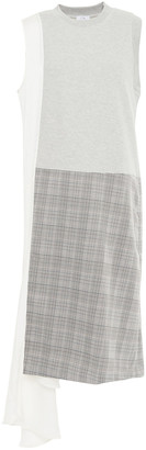 Clu Paneled Prince Of Wales Checked Jacquard, Twill And French Cotton-blend Terry Dress