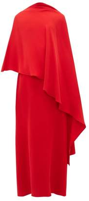 Valentino Asymmetric Silk-cady Cape Dress - Womens - Red