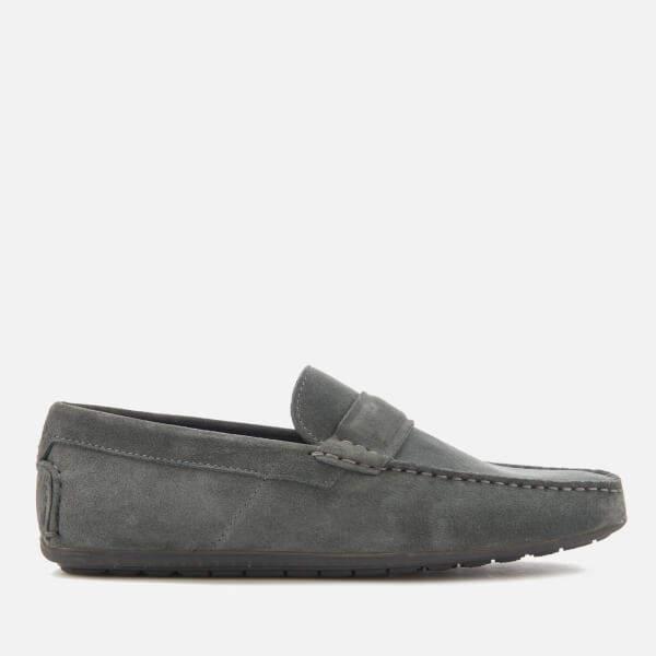 HUGO Men's Travelling Dandy Suede Moccasin Shoes Dark Grey