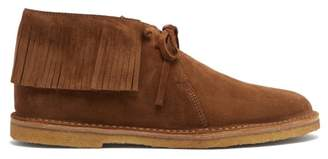 Saint Laurent Nino Fringed Suede Boots - Mens - Brown
