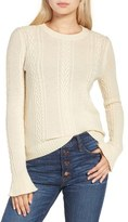 J.Crew Ruffle Sleeve Cable Crewneck Sweater
