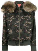 Mr & Mrs Italy camouflage fur hood bomber jacket