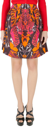 McQ Multicolor Kaleidoscopic Beetle Print A Line Skirt S