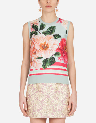 Dolce & Gabbana Camellia-Print Silk And Twill Sweater