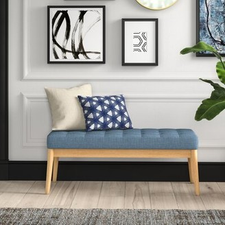 Mercury Row Krieg Upholstered Bench Upholstery: Blue