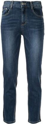 Sjyp Contrast Stitch Slim Leg Denim Jeans
