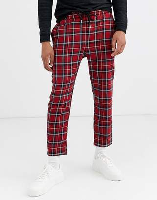ONLY & SONS cropped drawstring tartan trousers in red