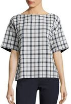 Lafayette 148 New York Zuri Plaid Cotton Blouse