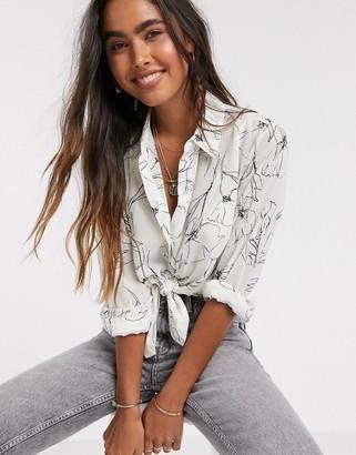 Y.A.S chiffon shirt in monochrome floral