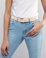 Asos Leather Rose Gold Buckle Waist And Hip Belt