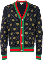 Gucci Tiger argyle knit cardigan - men - Wool - S