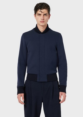 Emporio Armani Jersey Blouson With Knitted Trim