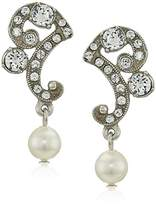 Ben-Amun Jewelry Pearl and Crystal Deco for Bridal Wedding Anniversary Drop Earrings