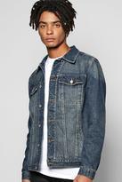 Boohoo Mid Wash Button Through Denim Jacket