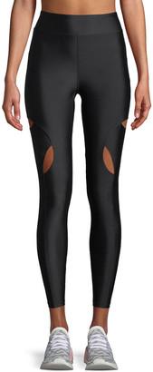 Cushnie High-Waist Cutout-Knee Active Leggings