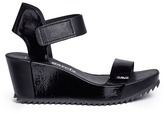 Pedro Garcia 'Francesca' mixed leather platform wedge sandals