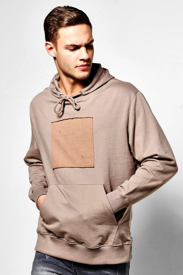 boohoo Oversized Hoodie With Front Patch taupe