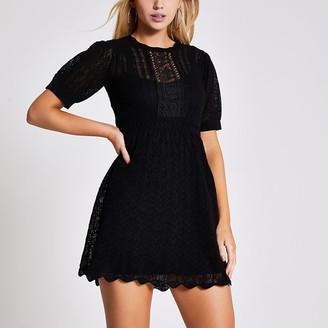 River Island Black short sleeve pretty stitch mini dress