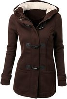 OCHENTA Women's Winter Casual Faux Fur Hooded Horn Button Wool Trench Coat Outwear Jacket