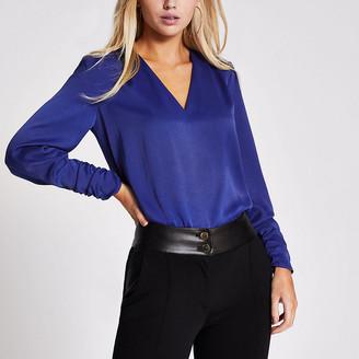 River Island Blue long sleeve V neck satin blouse