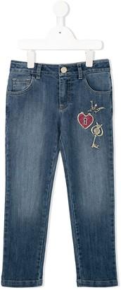 Roberto Cavalli Junior Charm embroidered denim jeans