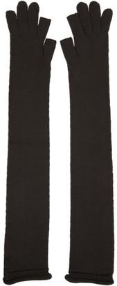 Rick Owens Brown Wool Opera Long Gloves