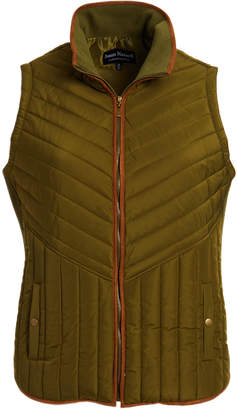 Jason Maxwell Women's Outerwear Vests BURNT - Burnt Olive Suede-Trim Quilted Vest - Women