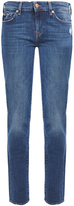 7 For All Mankind Roxanne Distressed Mid-rise Slim-leg Jeans