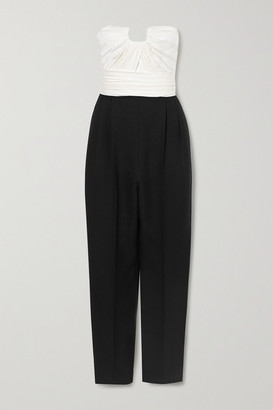 Alexander McQueen Strapless Two-tone Ruched Wool-blend And Silk-satin Jumpsuit - Black