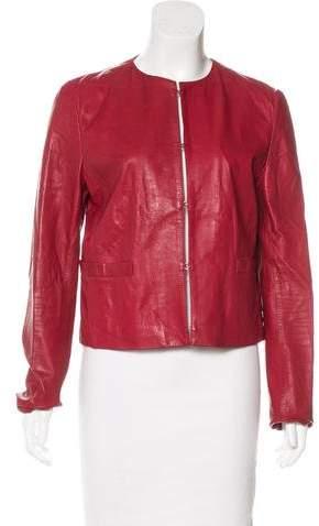 Dolce & Gabbana Leather Long Sleeve Jacket