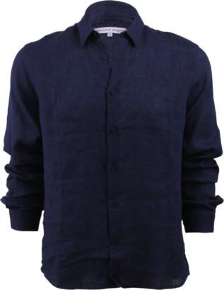 Orlebar Brown Morton Linen Dark Navy Tailored Linen Shirt