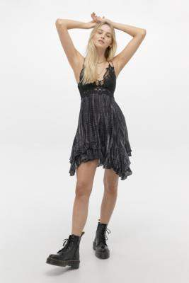 Free People Adella Tie-Dye Slip Mini Dress - black S at Urban Outfitters