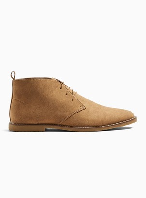 Topman Tan Faux Suede Spark Chukka Boots