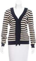 Magaschoni Striped V-Neck Cardigan