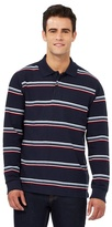 Maine New England Navy Striped Print Long Sleeved Polo Shirt