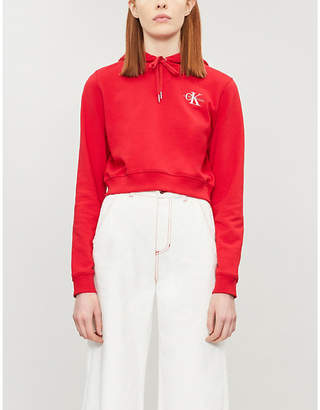 Calvin Klein Monogram embroidered cotton-blend hoody